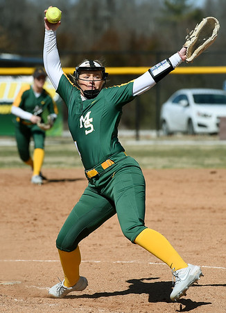 Missouri Southern's Natalie Hamm delivers a pitch to the plate during the Lions' game against Missouri Western in the 15th Annual Teri Mathis Zenner Memorial Classic on Friday afternoon at Pat Lipira Field.<br /> Globe | Laurie Sisk