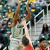 Missouri Southern's Winston Dessesow (1) shoots over Central Missouri's Michael Winger (12) during their game on Wednesday night at Leggett & Platt.<br /> Globe | Laurie SIsk