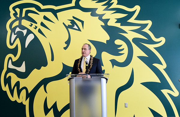 Missouri Southern football coach Jeff Sims speaks about the results of recruiting efforts during a press conference on Thursday. Sims is donning a necklace he brought back from American Samoa during one of his visits there.<br /> Globe | Laurie Sisk