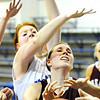 Globe/T. Rob Brown<br /> Wheaton's (14) gets her shot swatted down by a flock of McAuley hands including (31) Monday evening, Jan. 23, 2012, at McAuley's gymnasium.