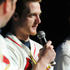 Globe/T. Rob Brown<br /> St. Louis Cardinals player Shelby Miller answers questions from children in the crowd Saturday afternoon, Jan. 19, 2013, during the Cardinals Caravan at MSSU's Taylor Performing Arts Center.