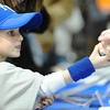 Globe/T. Rob Brown<br /> Royals fan Laney Wilson, 4, of Carthage, gets a baseball signed by former Royals player Dennis Leonard during the Royals Caravan visit Monday afternoon, Jan. 21, 2013, in Vintage Stock at Northpark Mall.