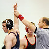 Globe/T. Rob Brown<br /> Joplin's Don Hillingshead is declared winner over Ozark's Brian Kenyon during Tuesday night's wrestling match, Jan. 15, 2013, at Joplin Memorial High School's gymnasium.