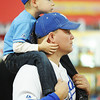 Globe/T. Rob Brown<br /> Royals fans Chet Wampler and four-year-old son Isaac Wampler, both of Joplin, wait in line for the start of the Royals Caravan Monday afternoon, Jan. 21, 2013, in Vintage Stock at Northpark Mall.