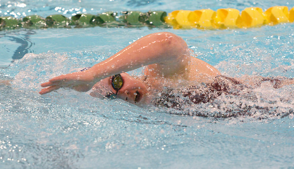 Globe/Roger Nomer<br /> Joplin's Kathleen Hughes swims in the 200 Meter Freestyle on Tuesday afternoon.