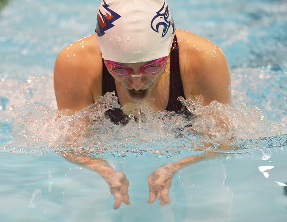 Globe/Roger Nomer<br /> Joplin's Kate Stauffer does the breast stroke in the 200 Meter IM on Tuesday afternoon.