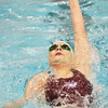 Globe/Roger Nomer<br /> Joplin's Victoria Alford does the back stroke in the 200 Meter Medley Relay on Tuesday afternoon.
