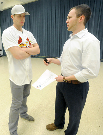 Globe reporter Jordan Larrimore interviews Cardinals pitcher Shelby Miller during the Cardinalds Caravan on Saturday at MSSU.<br /> Globe | Laurie Sisk