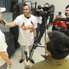 Cardinal prankster Joe Kelly tries to get a laugh out of fellow pitcher Shelby Miller as he conducts a mock interview with his teammate on Saturday at MSSU.<br /> Globe | Laurie Sisk