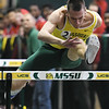 Missouri Southern's Matt Willis competes in the Men's 60m hurdles during the Southern Invite on Saturday at Leggett & Platt.<br /> Globe | Laurie Sisk