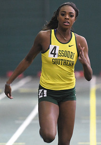 Missouri Southern's Jasmine Deckard clims first in the Women's 60m Dash during the Southern Invite on Saturday at Leggett & Platt. Globe | Laurie Sisk