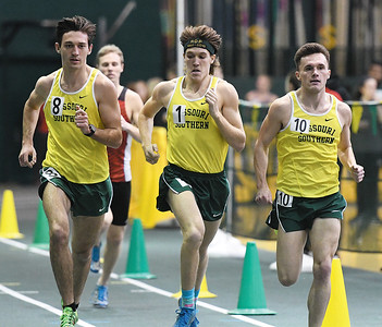 From the left: Missouri Southern milers Josh Webb, Nathan Painter and Cody Berry lead the pack  during the Southern Invite on Saturday at Leggett & Platt. Webb finished first, followed by Berry and Painter. Globe | Laurie Sisk