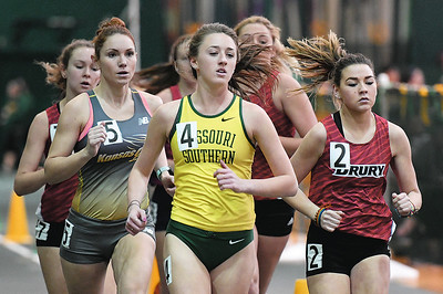 Missouri Southern's Maddy Gepford (4) paces the field in the Women's Mile during the Southern Invite on Saturday at Leggett & Platt. Gepford placed second in the event. Globe | Laurie Sisk