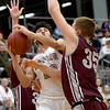 Joplin's Braeden Testerman (23) challenges Rolla defender Nick Janke (35) during their game on Friday night at Kaminsky Gymnasium.<br /> Globe | Laurie Sisk