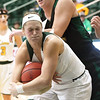 Missouri Southern's Desirea Buerge, front, and Northwest Missouri's Tanya Meyer battle for a rebound during their game on Thursday night at MSSU.<br /> Globe | Laurie Sisk