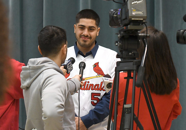 St. Louis Cardinals infielder Alex Majia chats with the media on Saturday during a Cardinals Caravan stop at Missouri Southern.<br /> Globe | Laurie Sisk