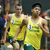 Jon Johnson , right, races to a second place finish in the Men's 400m during the Southern Invite on Saturday at Leggett & Platt.<br /> Globe | Laurie Sisk