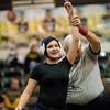 Seneca's Piper Patronis is declared the winner of her match during Monday's girls wrestling tournament in Diamond.<br /> Globe | Roger Nomer