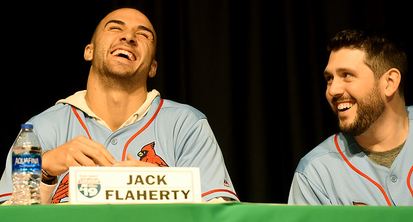 From the left: St. Louis Cardinals pitchers Jack Flaherty and Dominic Leone share a laugh during the Cardinals Caravan on Saturday at Missouri Southern.<br /> Globe | Laurie Sisk