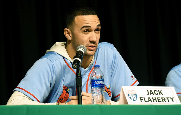 St. Louis Cardinals pitcher Jack Flaherty takes questions from fans during the Cardinals Caravan on Saturday at Missouri Southern.<br /> Globe | Laurie Sisk