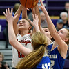 From the left: Carl Junction's Shila Winder battles Carthage's xx xx (42) and Sara Golden for a rebound during their semifinal game of the 2020 Bill Hanson Memorial Tournament on Friday at Pittsburg High School.<br /> Globe | Laurie Sisk