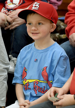 Cardinal Caravan veteran Lee Snow, 5, of Columbus, listens as players from the Cardinals answer questions during the Caravan's stop in Joplin at Missouri Southern on Saturday.<br /> Globe | Laurie Sisk