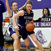 Pittsburg's Zoe Pinamonti (10) looks to get past Blue Valley Northwest's Hayley Numrich (0) during their consolation semifinal game of the 2020 Bill Hanson Memorial Tournament on Friday at Pittsburg High School.<br /> Globe | Laurie Sisk