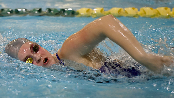 Carthage's Hope Fultz competes in the 200m freestyle during the Joplin Invitational on Thursday at Missouri Southern.<br /> Globe | Laurie Sisk