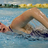 Carthage's Hope Fultz competes in the 200m freestyle during the Joplin Invitational on Thursday at Missouri Southern.<br /> Globe   Laurie Sisk