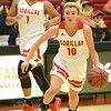 Pittsburg State's Tristan Gegg (10) dribbles the ball downcourt as teammate Maya Williams (1) looks on during their game against Missouri Southern on Saturday.<br /> Globe | Laurie SIsk