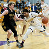 Thomas Jefferson's Dhruv Gheewala (35) challenges Golden City's  Lane Dunlap (32) during their game on Thursday night at Thomas Jefferson.<br /> Globe | Laurie Sisk