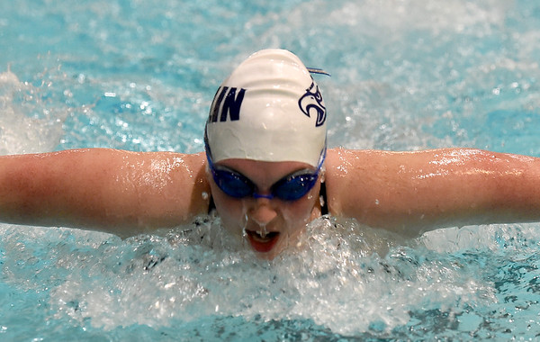 Joplin's Breanna Jones competes in the butterfly leg of the 200m Medley Relay during the Joplin Invitational on Thursday at Missouri Southern.<br /> Globe   Laurie Sisk