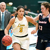 Missouri Southern's Layne Skiles (5)  tries to get past Newman's Brooke Haney (13) as Southern Coach Ronnie Ressel looks on (13) during their game on Saturday at Leggett & Platt.<br /> Globe | Laurie Sisk