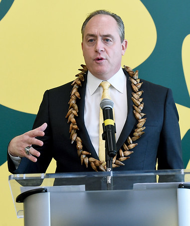 Missouri Southern football coach Jeff Sims speaks about the results of recruiting efforts in Missouri during a press conference on Thursday. Sims is donning a necklace he brought back from American Samoa during one of his visits there.<br /> Globe | Laurie Sisk