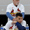 Cardinals legend Al Hrabosky, back, clowns around with Cardinals relief pitcher Jordan Hicks during the Cardinal Caravan's stop in Joplin at Missouri Southern on Saturday.<br /> Globe | Laurie Sisk