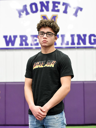 Monett wrestler Joey Semerad stands as one of the most successful wrestlers in a storied program at Monett, with 181 wins. Brink wrestles this year in the 138 lb. class.<br /> Globe | Laurie Sisk