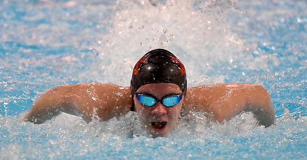 Lamar's Meghan Watson competes in the butterfly portion of the 200m individual medley during the Joplin Invitational on Thursday at Missouri Southern.<br /> Globe | Laurie Sisk