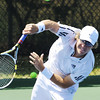 Globe/T. Rob Brown<br /> Jordan Szabo, of Australia, serves the ball to Mac Styslinger. of Birmingham, Ala., Tuesday morning, July 17, 2012, during the USTA Freeman $10,000 Men's Futures tennis tournament at Millenium Tennis & Fitness Club.