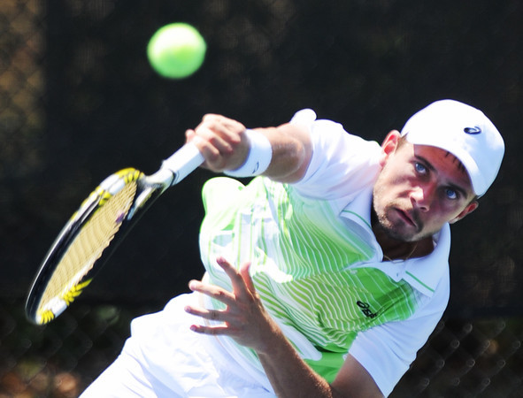 Globe/T. Rob Brown<br /> Sebastian Boltz of France serves the ball to opponent Dane Webb of Texas, USA, Saturday morning, July 21, 2012, during the semifinals of the USTA Freeman $10,000 Men's Futures tennis tournament at Millenium Tennis and Fitness Club in Joplin, Mo.