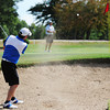 Globe/T. Rob Brown<br /> David Byrne, of Kansas City, Mo., chips from the sand and up onto the green, toward the pin, and ending close to the hole Saturday afternoon, July 28, 2012, during the Twin Hills Invitational at Twin Hills County Club.