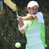 Globe/T. Rob Brown<br /> Sebastian Boltz of France returns the ball to opponent Dane Webb of Texas, USA, Saturday morning, July 21, 2012, during the semifinals of the USTA Freeman $10,000 Men's Futures tennis tournament at Millenium Tennis and Fitness Club in Joplin, Mo. Boltz won the match and will play in today's final match.