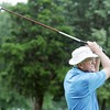 Globe/Roger Nomer<br /> David Klahr, Owasso, Okla., hits a tee shot during the Twin Hills Invitational on Friday.