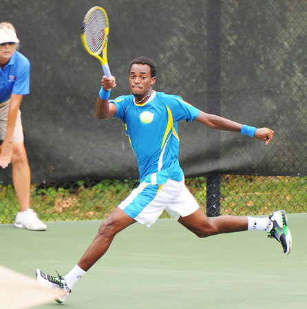 Globe/T. Rob Brown<br /> Darian King of Barbados, No. 1 seed, heads to the edge of the court to return the ball to opponent Leon Frost of Australia during Wednesday afternoon's match, July 17, 2013, of the USTA Freeman $10,000 Men's Futures at Millennium Tennis Club.