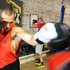 "Globe/T. Rob Brown<br /> Dillon ""White Lightning"" Cook of Seneca practices on a double end bag while training at Heartland Boxing Gym in downtown Galena, Kan., recently."