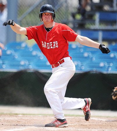 Globe/T. Rob Brown<br /> Houston Raiders White batter Austin Johnson reacts to losing control of the bat on a swing Thursday afternoon, July 18, 2013, at Joe Becker Stadium.