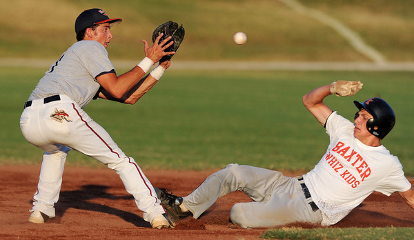 Globe/Roger Nomer<br /> Kyle Chapman's Ryan Rollins gets the throw in time to tag Midwest Nationals Ryan Martin on a steal attempt during pool play at the Premier Baseball Tournament at Joe Becker Stadium on Wednesday.