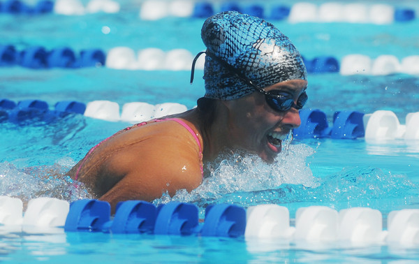 Globe/Roger Nomer<br /> Joplin's Chanel Ratliff, 16, competes in the 200-yard Medley Relay during the Joplin Invitational at Schifferdecker Pool on Saturday.