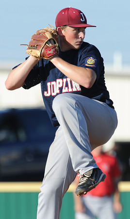 Globe/Roger Nomer<br /> Joplin's (9) pitched a two-run complete game for the win against Webb City in the first game on Thursday at Barnes Field.