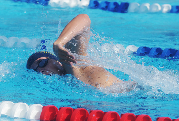 Globe/Roger Nomer<br /> Joplin's Chris Martucci competes in the 200-yard freestyle during the Joplin Invitational at Schifferdecker Pool on Saturday.