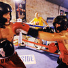 "Globe/T. Rob Brown<br /> Jesse ""Left Hook"" Cook (left) and brother Dillon ""White Lightning"" Cook, both of Seneca, spar during training at Heartland Boxing Gym in downtown Galena, Kan., recently. Their father, head trainer Dallas Cook, looks on."
